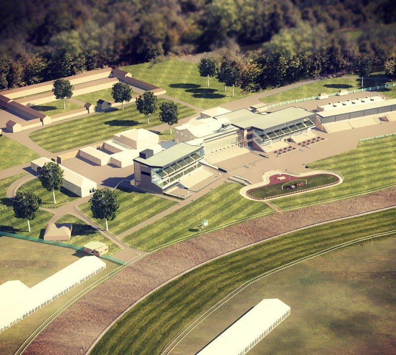 Digital graphic of aerial view of the Newcastle Racecourse.
