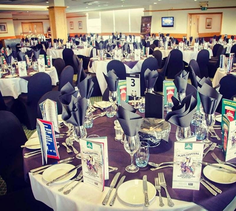 A room prepared for a party at Newcastle Racecourse.