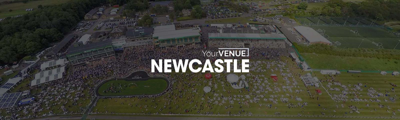 An Aerial view of Newcastle Racecourse with the YourVENUE logo in the foreground.