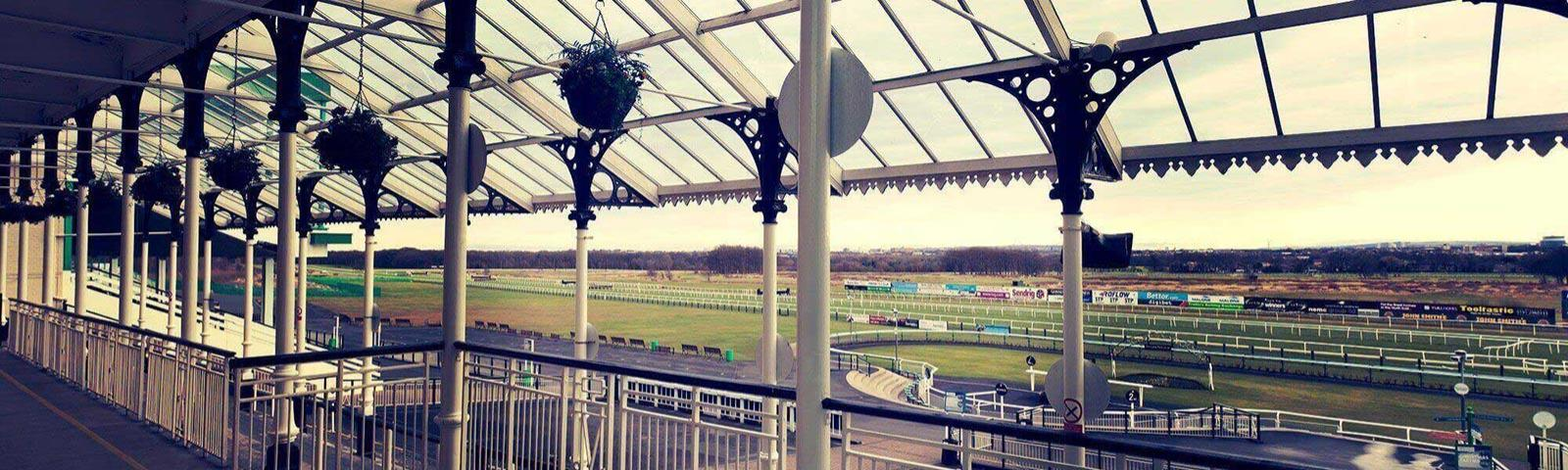 View of the parade ring and the track from the grandstand at Newcastle Raceourse.
