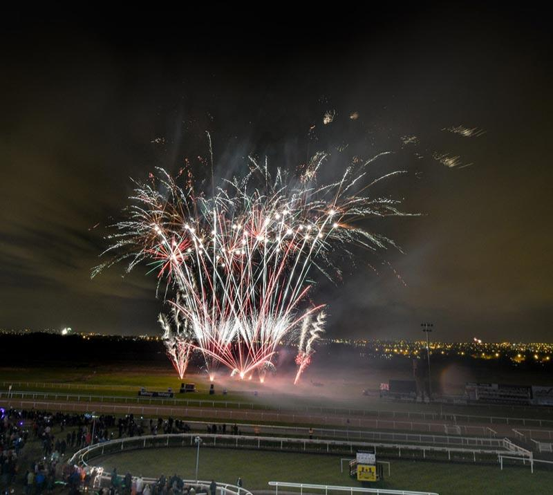 Fireworks in the center course at Newcastle Racecourse