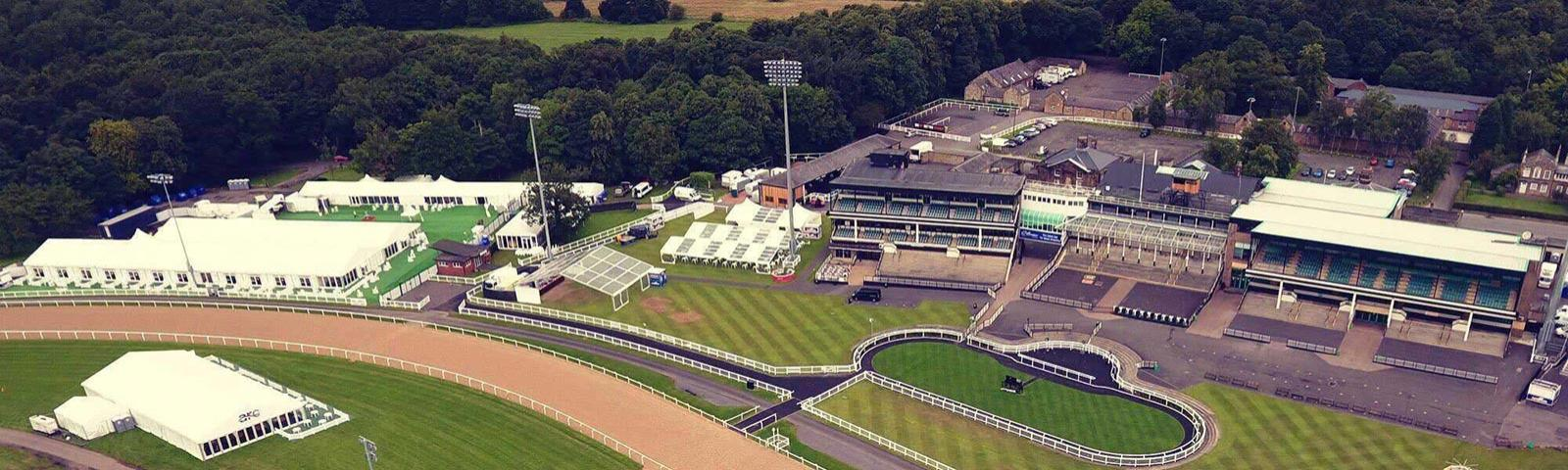 An aerial view across an empty Newcastle Racecourse
